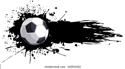Soccer ball with splashes of ink