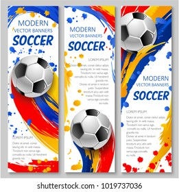 Soccer ball sporting banner for football sport game competition event template. Soccer ball with text layout flyer design, decorated by colorful paint splashes, brush strokes, spot and blot