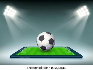 Soccer ball and stadium field on smartphone screen. Vector illustration