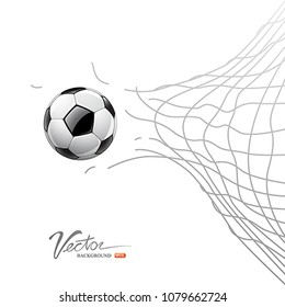 Soccer ball through net isolated on white background, vector illustration