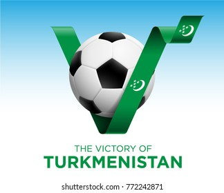 Soccer Ball With Turkmenistan Victory Flag Banner. Vector Illustration.