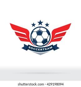 Soccer Ball and Wings Logo, Football Team Badge