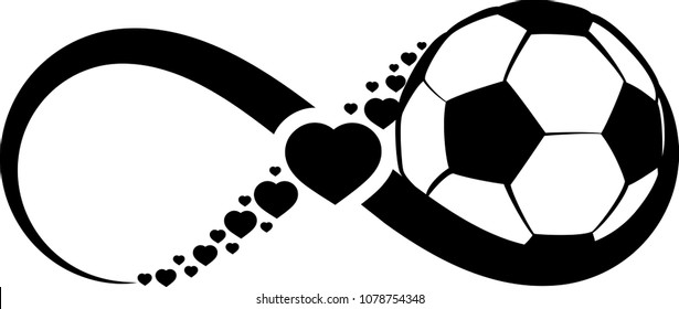 soccer ball wrapped in an infinity symbol with hearts through the middle of the infinity symbol.