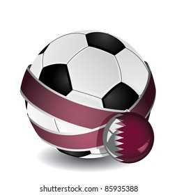 Soccer ball wrapped in medal strap and badge with Qatar flag