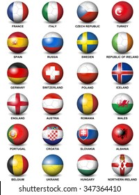 soccer balls concerning flags of european countries participating to the final tournament of Euro 2016 football championship