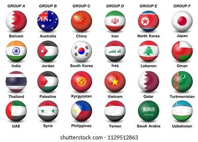 soccer balls flags countries asian tournament