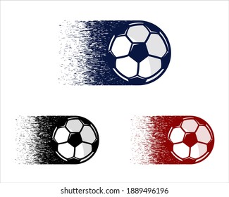 Soccer balls with motion trails vector illustrations. Football symbols set. Fast-moving soccer balls. Logo for sports and e-sports design. Vector illustration. Eps 10.