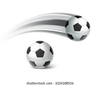 Soccer balls in move isolated on white background. Soccer balls isolated on white background.