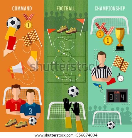 Soccer Banner Football Team Signs Symbols Stock Vector Royalty Free