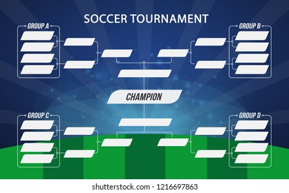 Soccer banner. Football tournament. Soccer match or football tournament. Cup of championship. Vector stock.