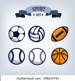 Soccer, baseball, volleyball, rugby, tennis, basketball ball emblem,  design template element, sport icons set