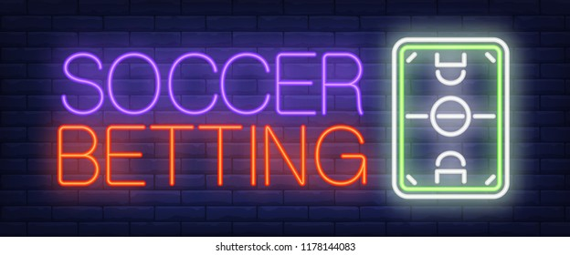 Soccer betting neon sign. Top view of football field on brick wall background. Vector illustration in neon style for online bet