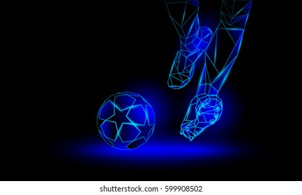 Soccer blue neon background. Polygonal Football Kickoff illustration. Legs and soccer ball.