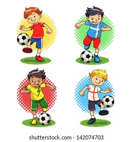 Soccer Boys Soccer player boys with different uniforms. Vector EPS10 file.