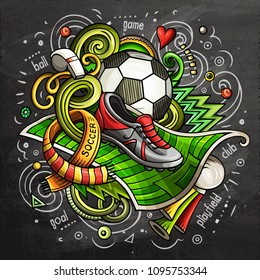 Soccer cartoon vector doodle illustration. Chalkboard colorful design with lot of objects and symbols. All elements are separate