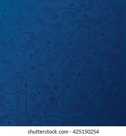Soccer. Championship soccer abstract Blue background different abstract sports award cup shapes. Soccer geometric pattern 2016 Football Champions league Vector European Championships Soccer 2019 world