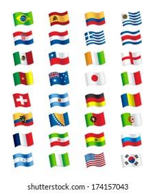 Soccer Championship Brazil 2014 Flags