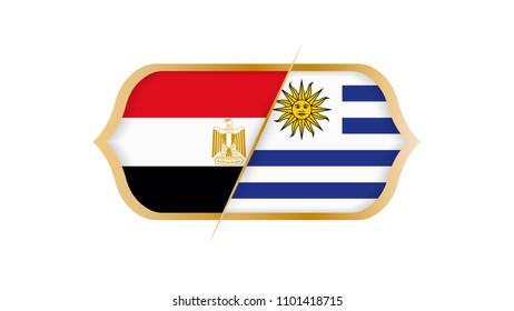 Soccer championship Egypt vs Uruguay. Vector illustration.
