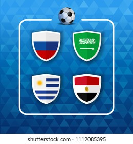 Soccer championship event schedule. Group A country team list of football match games. Includes Russia, Saudi Arabia, Egypt and Uruguay. EPS10 vector.