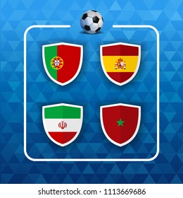 Soccer championship event schedule. Group country team list of football match games. Includes Portugal, Iran, Spain and Morocco. EPS10 vector.
