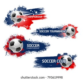 Soccer championship or football sport game tournament vector icons set of flying ball. Vector symbol of soccer ball flying to goal on arena stadium for football cup or college league team and fan club
