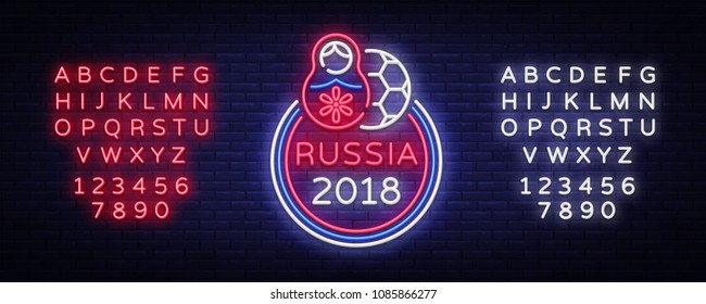Soccer championship logo neon vector. Soccer neon sign, European Football Cup 2018, Light Banner, Design Template whit Russian nesting doll, Soccer Russia, neon signboard. Editing text neon sign