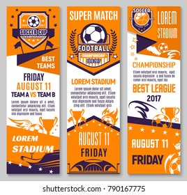 Soccer championship match banner of football sport game. Soccer ball with winner trophy cup, football stadium and champion flag flyer, decorated with star, ribbon banner and flame for sporting design