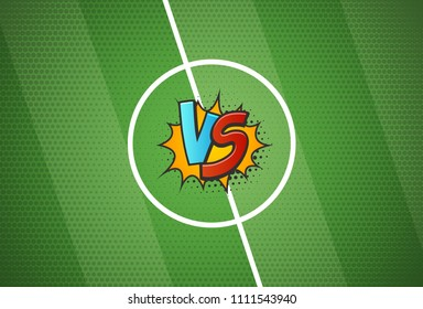 Soccer championship versus battle cartoon background vector illustration. Football grass texture halftone style