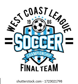 soccer championship. west coast league. final team. football sports vector. boys sports graphic tee shirts vector illustration design and other uses
