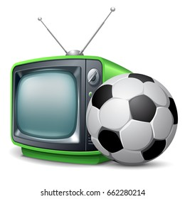 Soccer channel. Soccer ball and retro television. Vector realistic volumetric illustration. Isolated on white background.