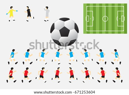 6fa98caf1 Soccer Characters Including Red & Blue Players, Referee , Goalkeepers,  Green Field, And Football Suitable For Role Play Game, Competition, Or  Planning - ...