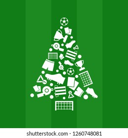 Soccer Christmas tree on green background like a soccer field.