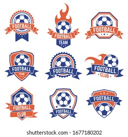 Soccer club emblem. Football badge shield logo, soccer ball team game club elements, soccer competition and championship vector isolated icon set. Shield football championship or team illustration