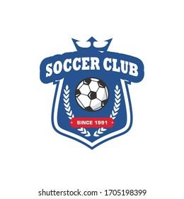 Soccer club emblem. Football badge shield logo, soccer ball team game club elements, Vector Logo Illustration Fit to championship or team