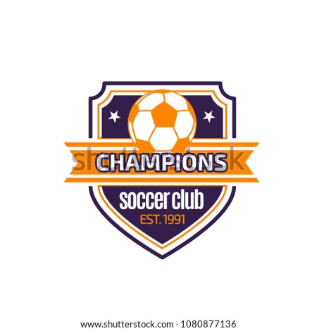 6599ffa3d Soccer club or football championship heraldic icon for college league team  badge. Vector symbol of