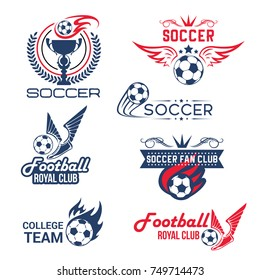 Soccer club or football tournament and championship icons set. Vector isolated goal gates, soccer ball flying with spread wings and winner cup goblet for football league fan club or sport game contest