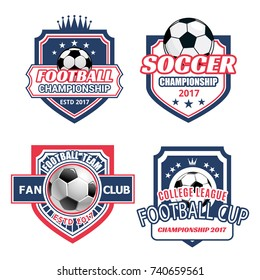Soccer club icons or football championship cup label of soccer or football ball goal, victory wreath and crown on shield with star and ribbon for sport fan team league. Vector isolated templates set