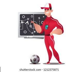 Soccer coach man. The coach draws the playing field and game plan on the chalk board. Training course, instruction of the team before the match. Analysis of mistakes, games. Cartoon character. EPS10