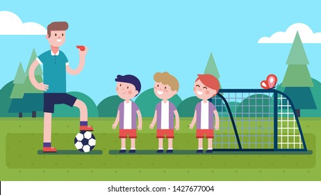 Soccer coach man holding whistle, stepping on ball & teaching boys players on field. Happy kids training playing football sport game. Children & teacher cartoon characters. Flat vector illustration