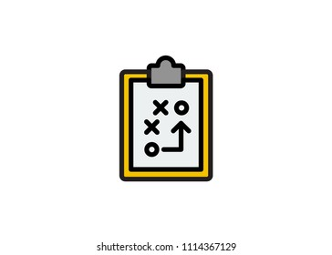 Soccer coach tablet icon, filled line icon