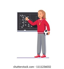 Soccer coach woman drawing game plan on chalk board playbook, teaching game tactics & instructing Football team. Soccer match analysis scheme. Football game strategy playbook. Flat vector illustration
