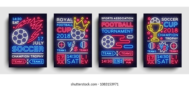 Soccer collection posters neon vector. Football Cup Championship 2018 postcard, flyer design template, light banner, brochure soccer championship, invitation to European football, typography. Vector