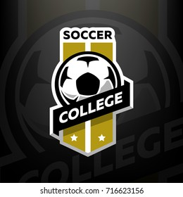 Soccer college logo, on a dark background.