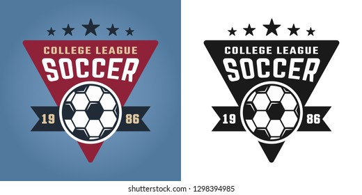 Soccer college team two styles vector emblem, badge, label or logo isolated on colored and white background