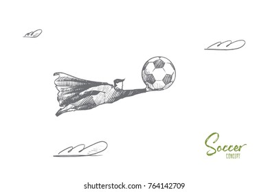 Soccer concept. Hand drawn superhero with soccer ball in his hand. Flying hero holds symbol of football game isolated vector illustration.