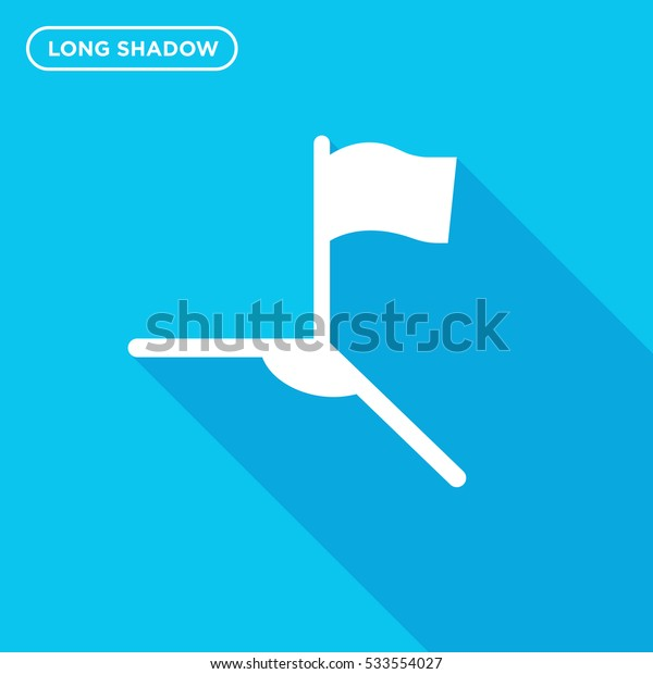 Soccer corner icon illustration isolated vector, flag sign symbol in long shadow style on blue background