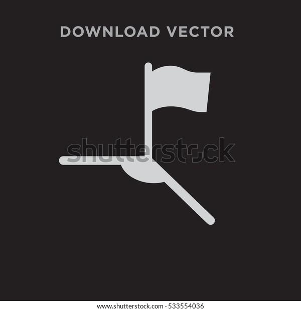 Soccer corner icon illustration isolated vector, flag sign symbol on black background