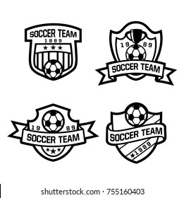 Soccer Crest in black and white