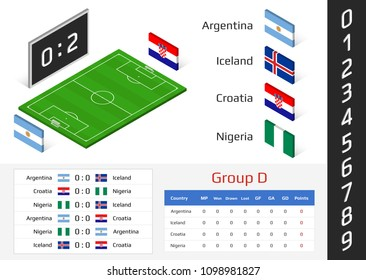 Soccer cup 2018. 3D vector illustration for football (soccer) match, isometric field with scoreboard, set of numbers and country flags. Football championship tournament schedule. Group D team