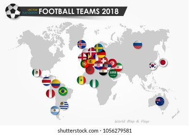 Soccer cup 2018 . Country flags of football teams on world map background . Vector for international world championship tournament 2018 concept . Flat design .